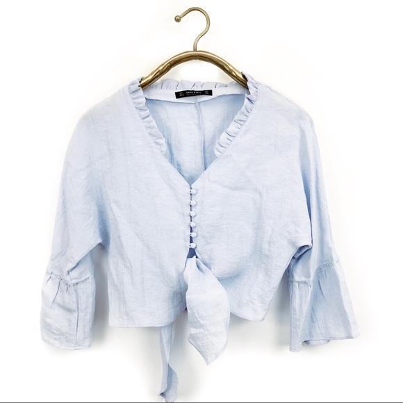 6df20248 Zara Tops | Collection Blue Linen Front Tie Crop Top | Poshmark